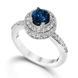 Blue Diamond Fashion Ring in 14k White Gold