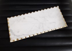 Indoor White Marble Platter With Gold Edges, Size: 12x5