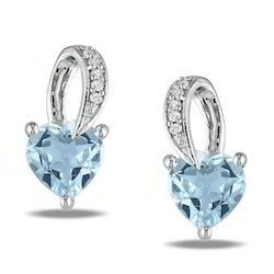 Aquamarine Stone Diamond Earrings