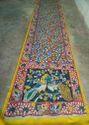 Yellow Ans Blue Party Wear Kalamkari Saree, Length (metre): 6.30 Cm