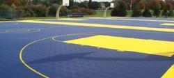 Blue And Yellow Synthetic Multipurpose Court Flooring