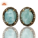 Gemstone Pave Diamond Stud Earrings