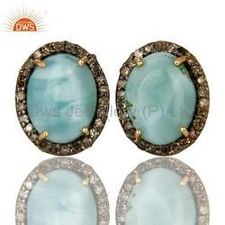 Gemstone Pave Diamond Stud Earrings