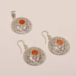 Shree Krishnam 92.5 Sterling Silver Cornilion Earring Pendant Set 15.25