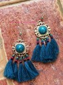 Blue Hand Crafted Thread Tassels Earrings