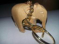 Wooden Elephant Keychain