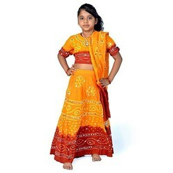 Sanganeri Yellow Maroon Lehenga Choli Set 117C