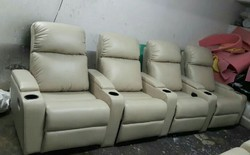 Zoha Cream Leather Recliner Home Theater