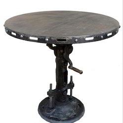 """Kernig Krafts Wood And Cast Iron Crank Table, For Restaurant, Size: 30"""" Dia"""