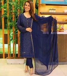 Chiffon Blue Mukesh Kamdani Suit, Machine wash