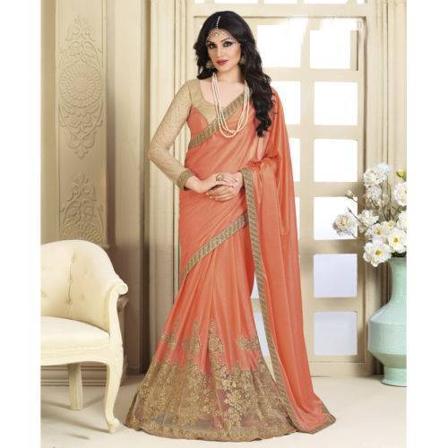 bf34063da286c1 Orange And Golden Net Designer Bridal Saree, With Blouse Piece, Rs ...
