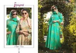 Psyna Tex Present Pastel Twins Cotton Silk Gown With Stole Readymade Collection