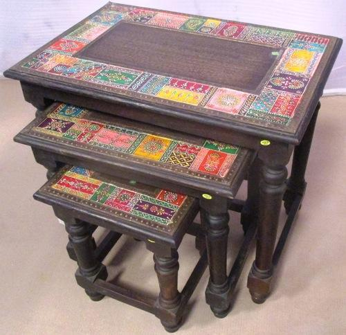 New Hand Painted Wooden Tea Table Set Of 3
