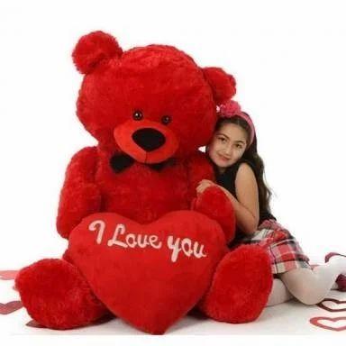 Red Teddy Bear 5 Feet, Girl Pink Red 5 Feet Big Teddy Bear With Big Red I Love You Heart Rs 2150 Piece Id 18279065548