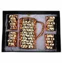 Copper Water Jug and 4 Glass Set