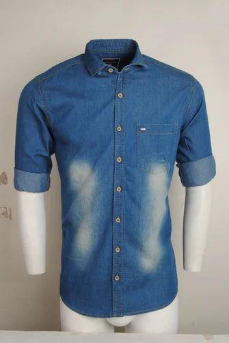 6c3f6511ea5 Full Sleeves Blue Colour Men Casual Denim Shirt