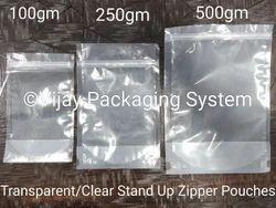Transparent Zipper Stand Up Pouches-100gm