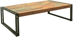 Industrial Iron Wooden Vintage Coffee Table for Restaurant