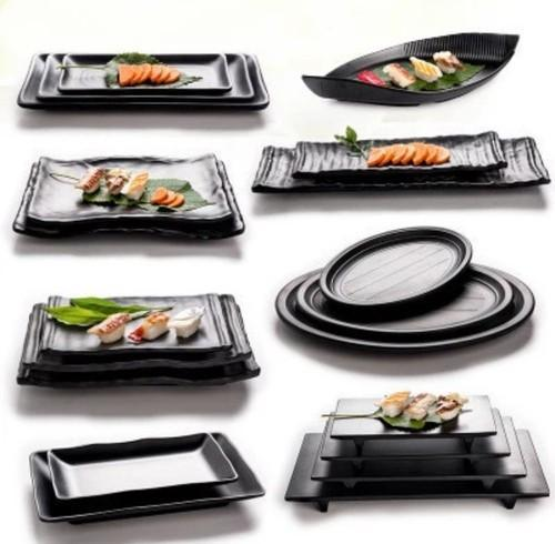 Melamine Black White Platters Rs 120 Piece New Crockery Centre Id 20282177597