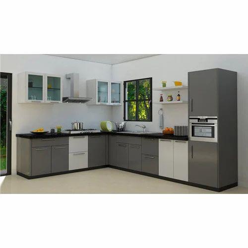 L Shaped MDF Modular Kitchen, एल आकार की मॉड्यूलर रसोई, एल