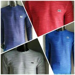 Blue Cotton Mens Full Sleeve T Shirt