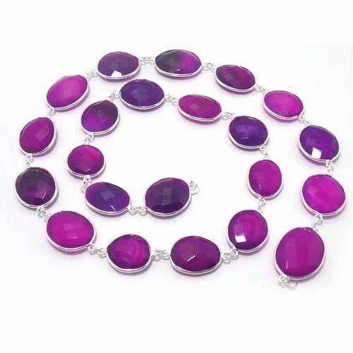 Lavender Gemstone Bezel Chain, Size: 12 - 12 Mm