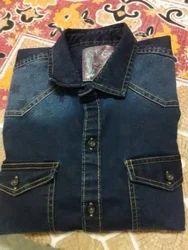 Plain Half Sleeves Cotton Denim Shirts Slim Fit, Size: Large