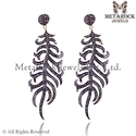 92.5 Sterling Silver Pave Diamond Earring