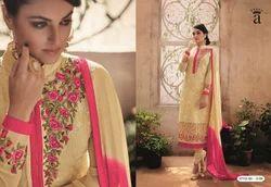 Beige Pink Embroidered Fancy Salwar Suit