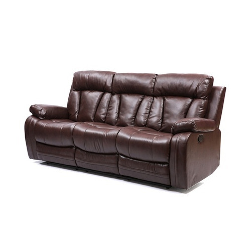 Brown Three Seater Recliner Sofa
