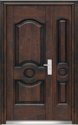 Steel Brown Main Entrance Double Leaf Door, Size: 2100x1200x70 Mm