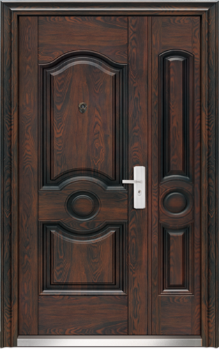 Steel Brown Main Entrance Double Leaf Door, Size:2100x1200x70 Mm
