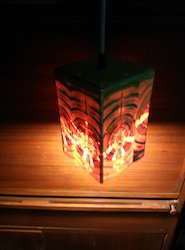 Square Wooden Hanging Lamp