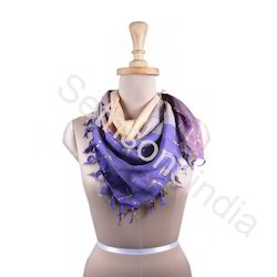 Purple And Off Whte Printed Scarves
