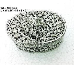 Oval Shape White Metal Box
