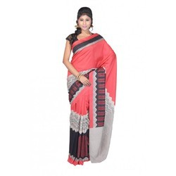 Thappa Silk Red With Black Border Saree