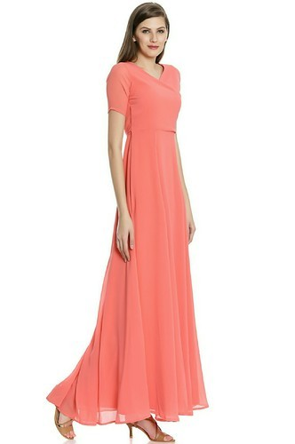 99d13df721f63 XS-6XL Peach And Orange Evening Gowns, Rs 455 /piece, Indo Shine ...