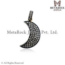 Pave Diamond Moon Shape Pendant