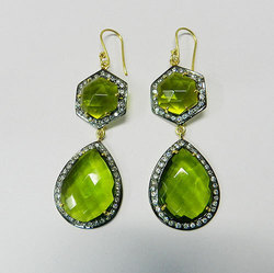 Peridot Quartz Stone Silver Earring