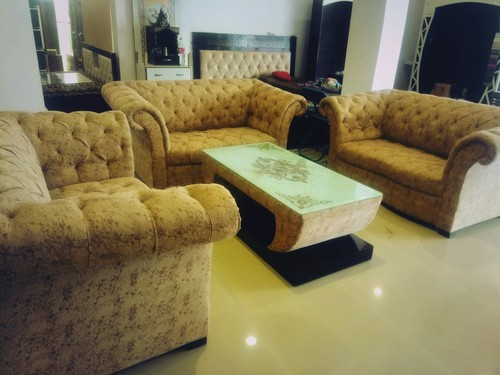 Wood 6 Seater Chesterfield Sofa Set