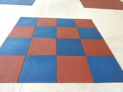 Asian Flooring Red and Blue Gym Floor Tiles, 15-20 mm