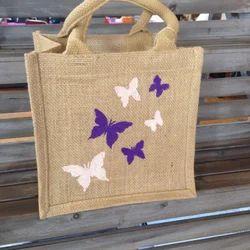 Brown Printed Stylish Jute Bag, Size: 8 X 8 X 4 Inch