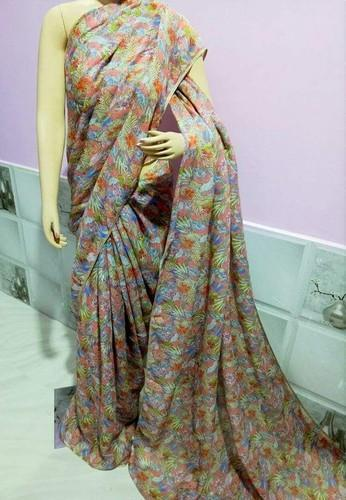 Cotton 6 Colour Printed Linen Saree
