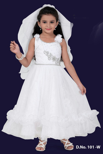 Polyester Sleeveless White Fairy Kids Gown cf12d5a20