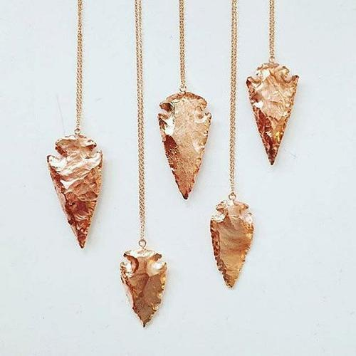 Rose gold arrowhead pendant necklace pyramid precious rose gold arrowhead pendant necklace aloadofball Image collections