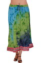Girls Rayon Multi Color Skirt