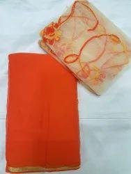 Pure Chiffon Bridal Wear Orange Tanchui Chiffon Sarees, With Blouse Piece