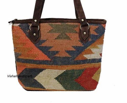Shoulder Bags Hand Woven Jute Durri Bag Manufacturer
