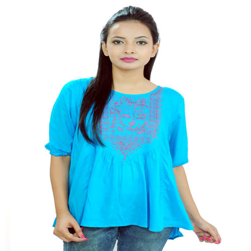 Blue Cotton Embroidered Rayon Tops