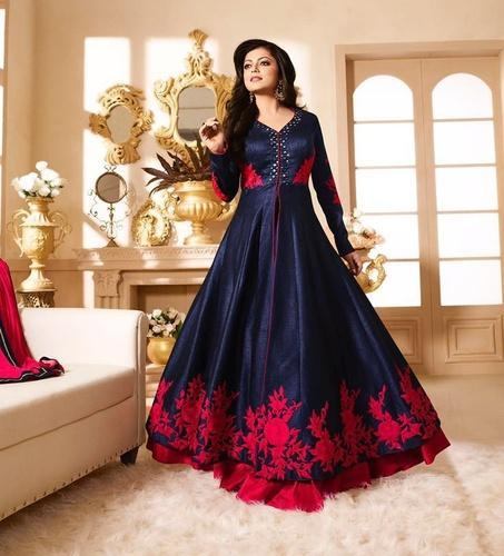 2aab337fb7d8 Ladies Gown - Black Georgette Gown Wholesale Supplier from Surat
